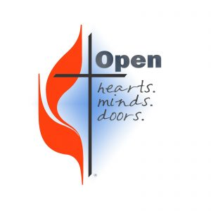 Open Hearts, Minds and Doors -- Text along with Methodist cross